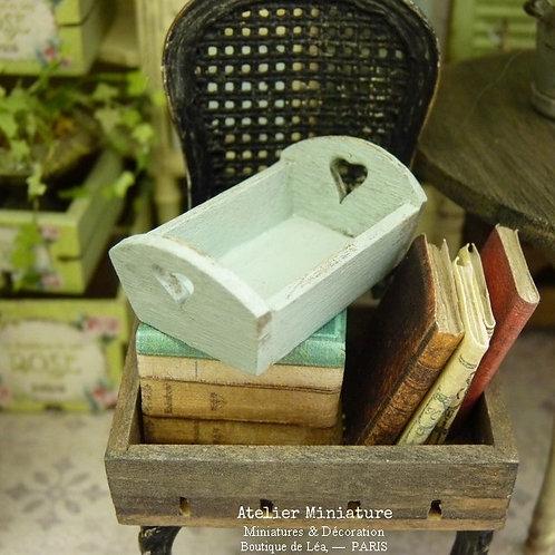 Petit Plateau miniature en bois, Vert-Bleuté, Maison de Poupée, Échelle 1/12