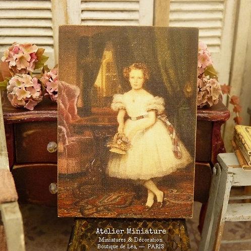 Panneau Miniature en Bois, Fillette en robe blanche, Échelle 1/12