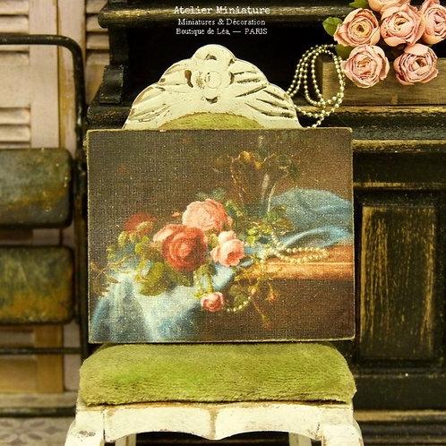 Panneau Miniature en Bois, Perles et Roses XIXe, Échelle 1/12