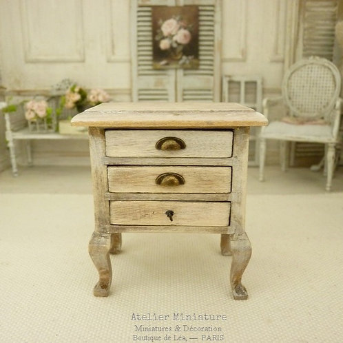 Miniature chest of drawers, Natural wood ceruse effect, Dollhouse scale 1:12th
