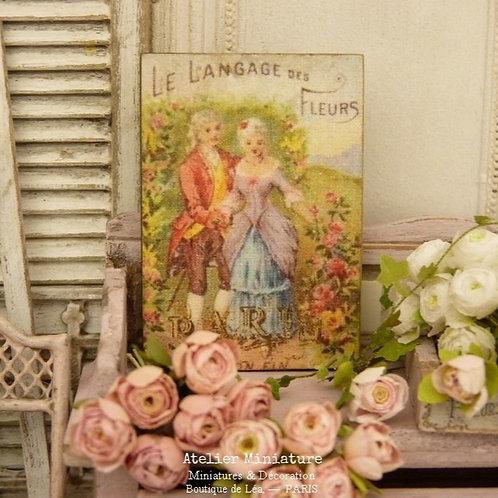 Panneau Miniature en Bois, Langage des Fleurs, Échelle 1/12