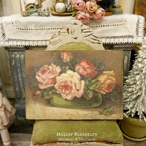 Panneau Miniature en Bois, Coupe de Roses XIXe, Échelle 1/12
