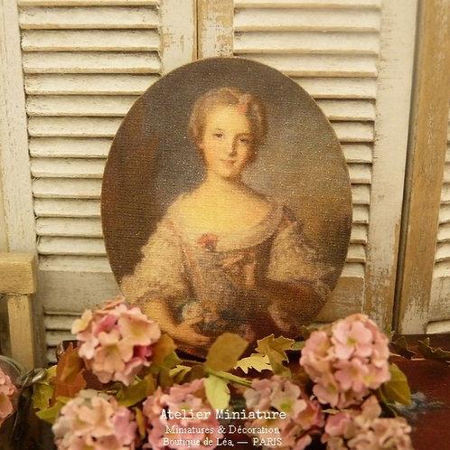 Panneau Ovale Miniature en Bois, Louise de France, Maison de Poupée 1/1