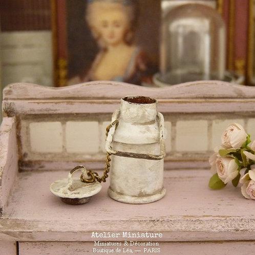 Pot à Lait Miniature en Métal, Blanc, Maison de Poupée, 1/12
