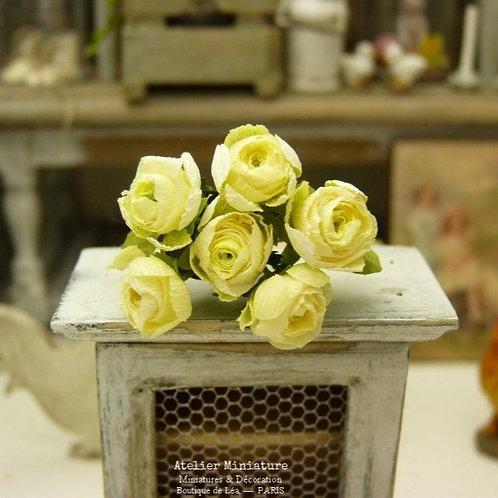 6 Roses Miniatures Jaunes, Fleurs en Papier, 100% fait main, Maison de Poupée