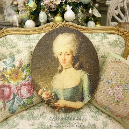 Panneau Ovale Miniature en Bois, Portrait de Femme, Robe Bleu XVIIIe, 1/12