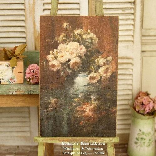 Panneau Miniature en Bois, Vase de Roses, Échelle 1/12