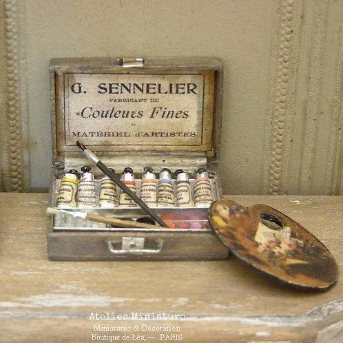 Mallette d'Artiste-Peintre, Miniature en Bois Vieilli, Maison de Poupée