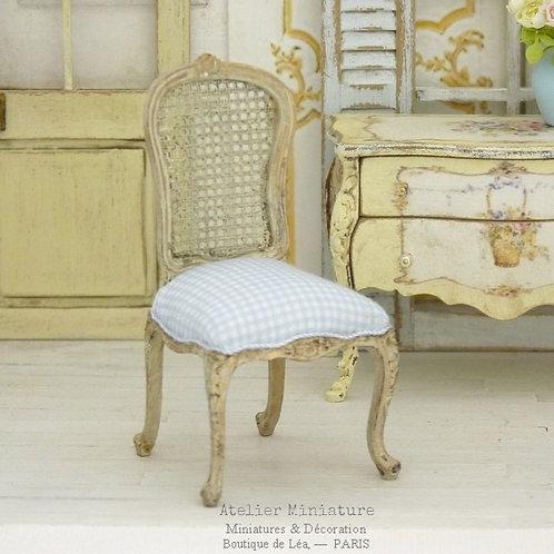 Louis 15th Chair, Imitation Cannage, Blue Vichy, Doll House, 1/12
