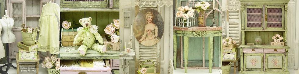 ENTÊTE, Brocante Miniature Vert et Rose,