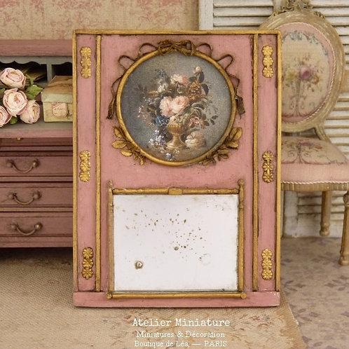 Miroir-Trumeau Vieilli Miniature en Bois, Or, Échelle 1/12