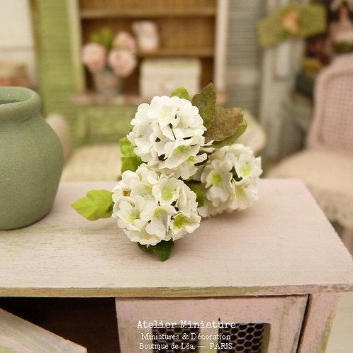 3 White Miniature Hydrangeas, Paper Flowers, 100% Handmade, 1/12