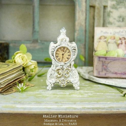 Horloge Miniature Métal, Shabby Chic Blanc
