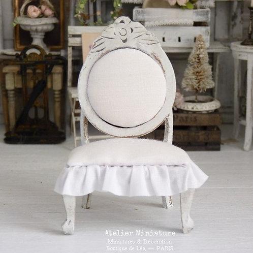 Chaise de Style Napoléon III, Blanc Shabby Chic, Maison de Poupée