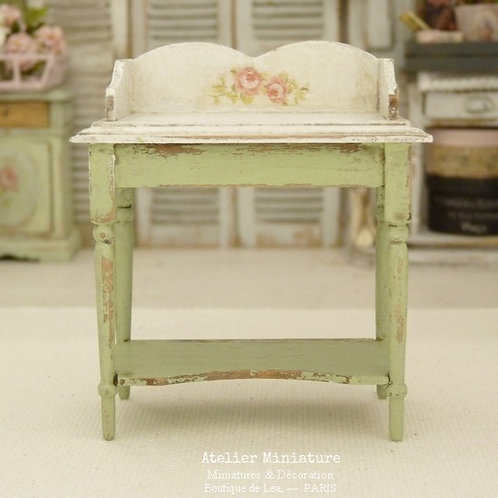 Miniature Vanity Table, Provence Green, Dollhouse, Scale 1/12