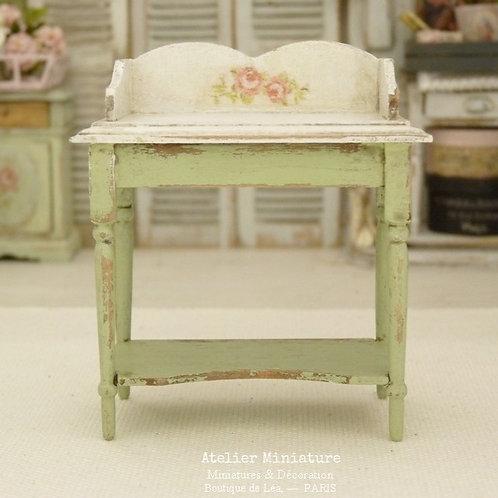 Table de Toilette Miniature, Vert Provence, Maison de poupée, Échelle 1/12