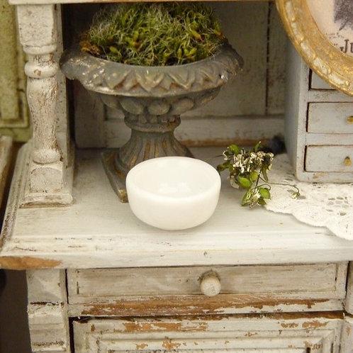 Bol Miniature en Porcelaine Blanche, Maison de Poupée