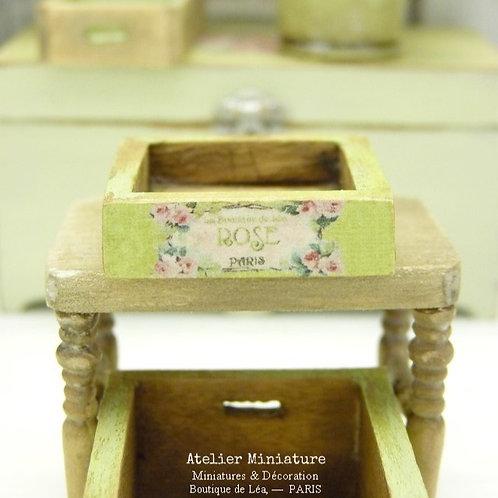 Cagette Miniature en Bois, Vert Provence, Maison de Poupée, Échelle 1/12