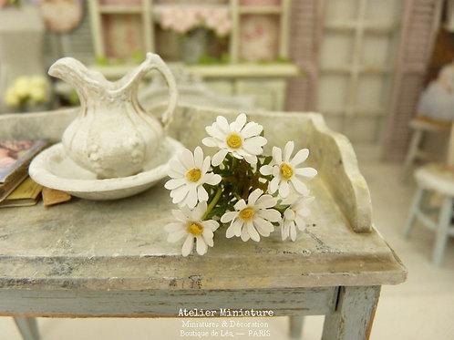 6 Marguerites Miniatures, Fleurs en papier, Maison de Poupée