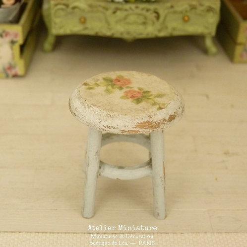 Tabouret Rond Miniature en Bois, Bleu et Blanc, 1/12
