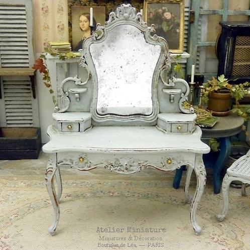 Coiffeuse Miniature en Bois Shabby Chic, Louis XV, Échelle 1/1