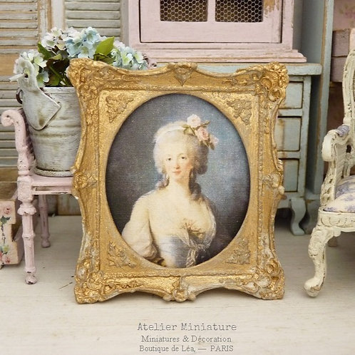 Cadre miniature baroque, Or vieilli, Portrait de femme XVIIIe,1/12