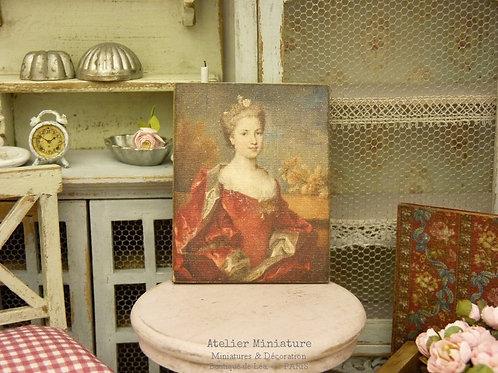 Panneau Miniature en Bois, Portrait de Femme XVIIIe, Échelle 1/12