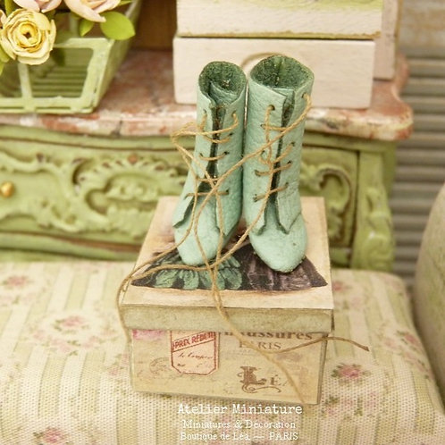 Miniature Ankle Boots, Old-Fashioned Green, Imitation Leather, Dollhouse, 1/12