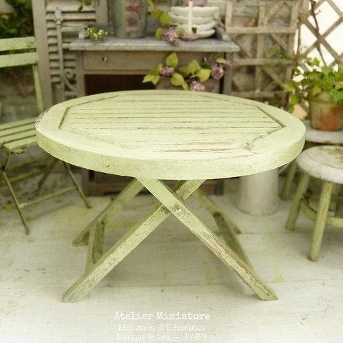 Table Ronde Pliante (FIXE), Jardin Miniature, Échelle 1/12