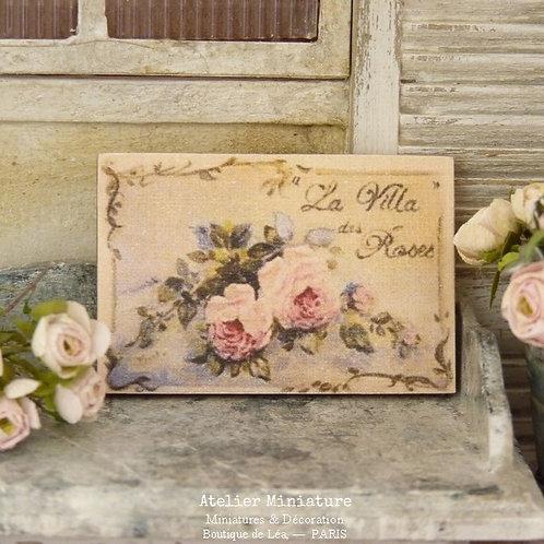 Panneau Miniature en Bois, Villa des Roses, Échelle 1/12