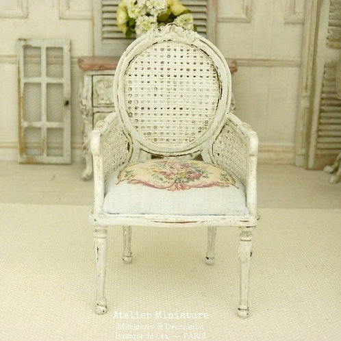 Louis 16th Armchair, Imitation Cannage, Rose Aubusson, Dollhouse 1:12th scale.