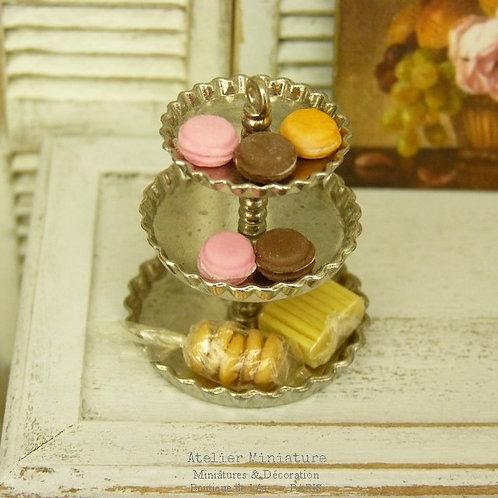 Plateau Miniature en Métal, Macarons et Biscuits Secs, Maison de Poupée, 1/12P
