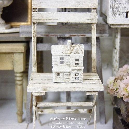 Maison Miniature en Métal, Blanc Shabby Chic, Maison de Poupée