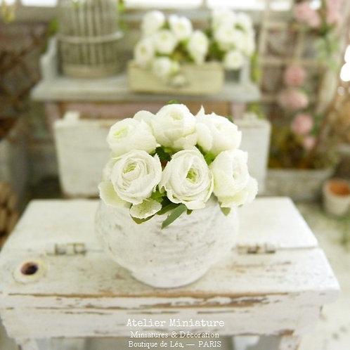 6 Miniature White Roses, Paper Flowers, 100% Handmade, Doll House