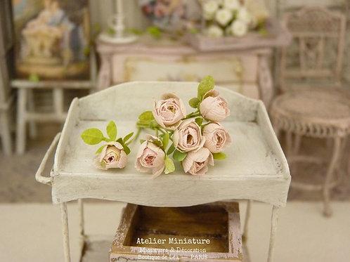 Bouquet de 7 Roses Miniatures, Rose Pâle, Maison de Poupée,