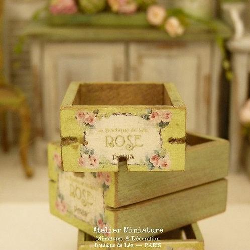Cagette Miniature en Bois, Shabby Vert Provence, Échelle 1/12