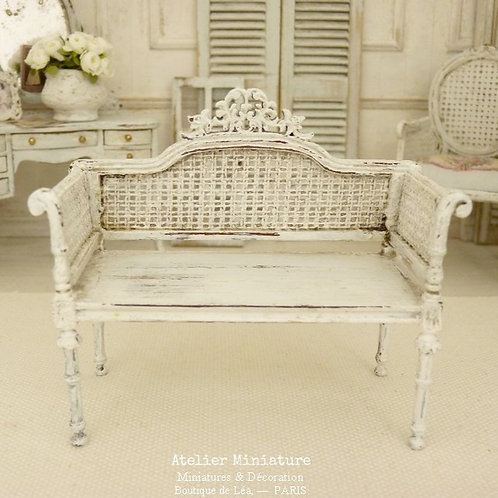 Miniature Wooden Loveseat, White Aged, Imitation Cannage, Dollhouse