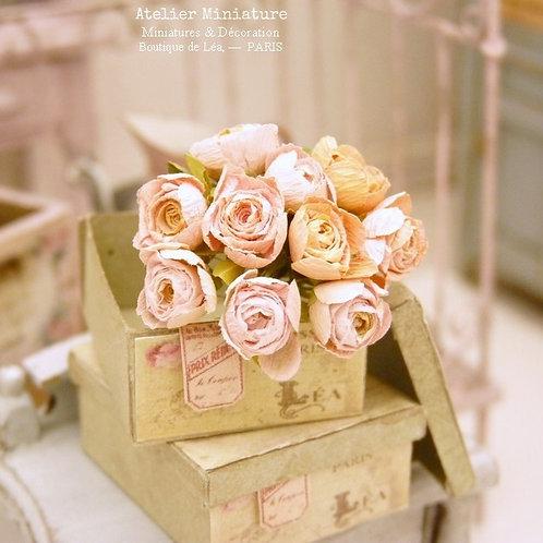 Bouquet de 10 Roses Miniatures, Rose et Saumon, Maison de Poupée, 1/12