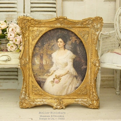 Baroque Miniature Frame, Aged Gold, Woman Portrait in White, Doll House