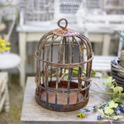 Cage à Oiseau, Miniature en Métal Rouillé