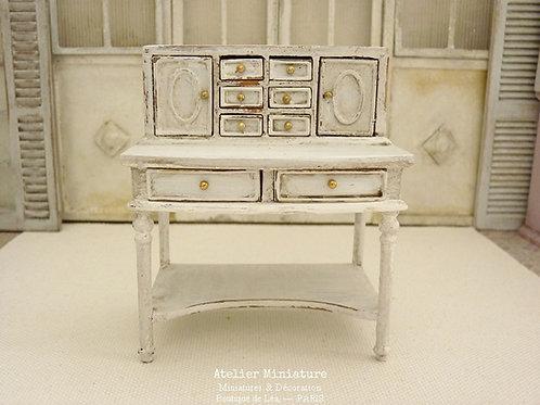 Bureau secrétaire Shabby Chic, Miniature en bois, Mobilier de Maison de Poupée