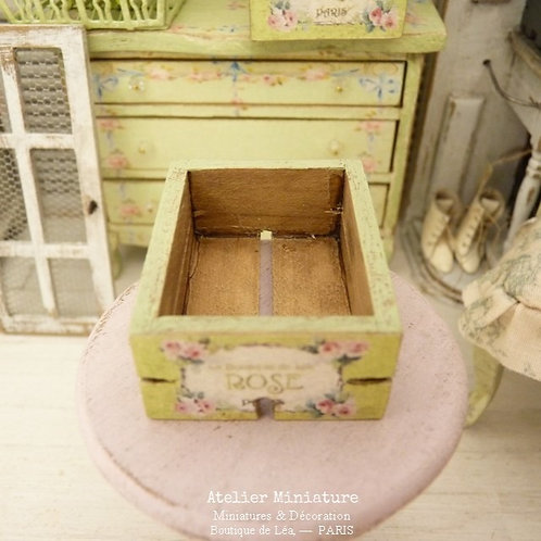 Wooden Miniature Crate, Shabby Green Provence, Scale 1/12
