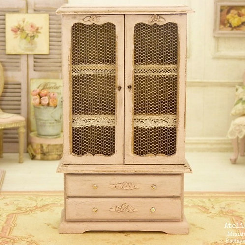 Miniature cupboard in wood, Shabby Soft PINK, French old lace, 1:12th scale