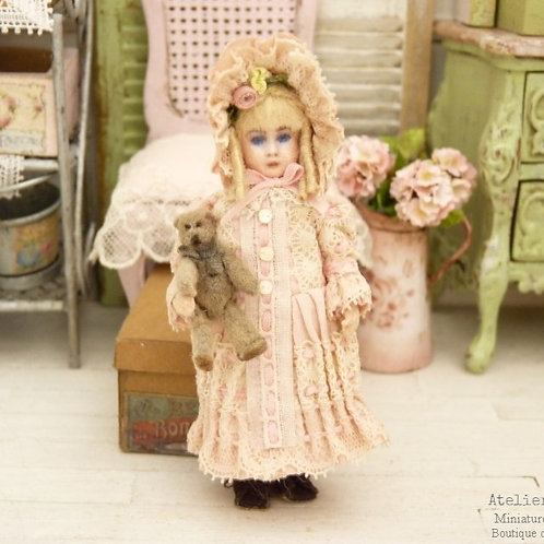 Reproduction of an old-fashioned doll & its Teddy Bear, Dollhouse 1:12th scale
