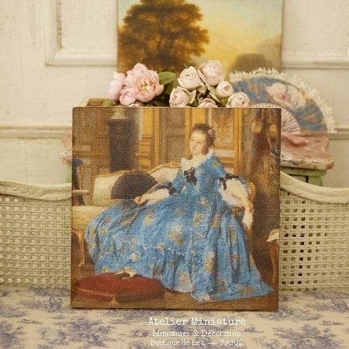 Panneau Miniature en Bois, Femme en Bleu XVIIIe, Échelle 1/12