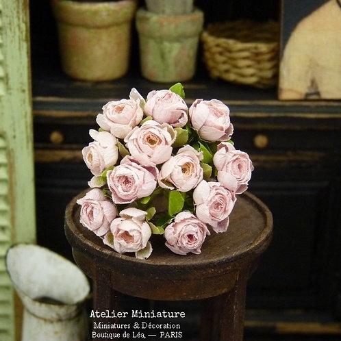 Bouquet de Roses Roses Miniatures, Fleurs en Papier, 100% fait main