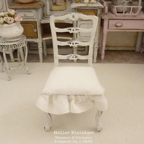 Chaise Miniature en Bois, Style Provençal, Shabby Chic, Maison de Poupée