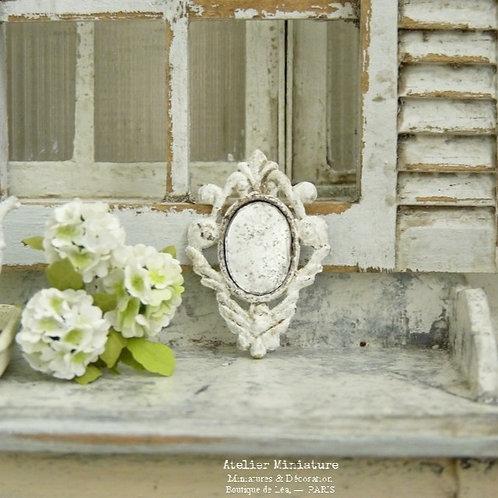 Petit Miroir Baroque en Métal, Maison de Poupée, 1/12