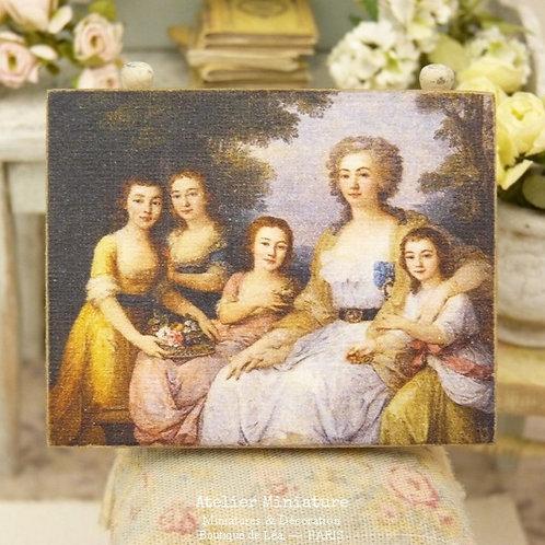 Panneau Miniature en Bois, Portrait de Famille du XVIIIe, Échelle 1/12