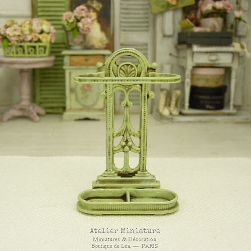 Miniature Umbrella Holder, Green Painted Metal, Dollhouse, Scale 1/12